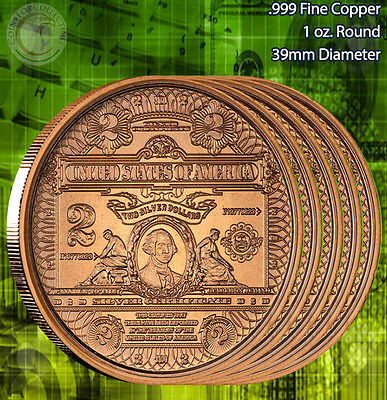 "5 Rounds ""$2 George Washington Banknote"" 1 oz .999 Copper Round"