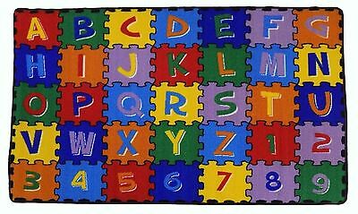 Kids Children Rug ABC-PUZZLE Educational 3' X 5' NON SKID Area Rug
