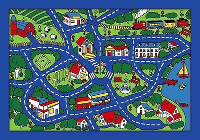 New 8' x 11' Area Rug Play Road Driving Time Street Car Kids City Fun Time Blue