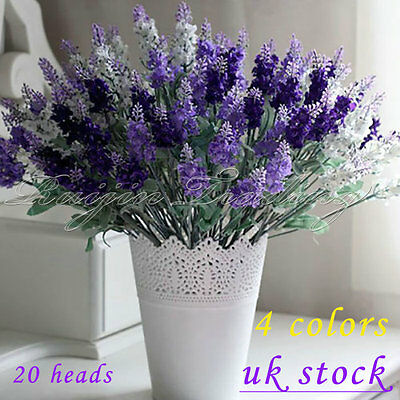40 Heads Lavender Flowers Silk Artificial Bouquet Wedding Home Party Decor Craft