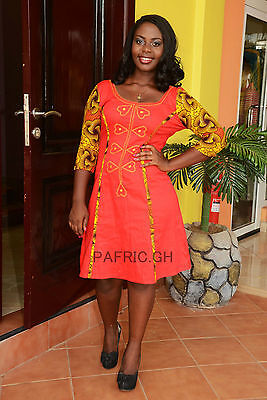 New Ladies Design Cotton Dress & African Print With Embroidery. African Clothing