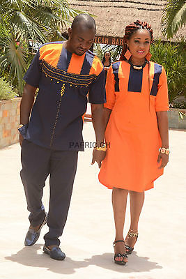 New Couple Embroidery Design On Polish Cotton Embroidery Dress. African Clothing