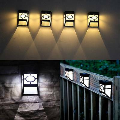 Outdoor Solar Powered Wall Mount LED Light Garden Path Fence Yard Landscape Lamp
