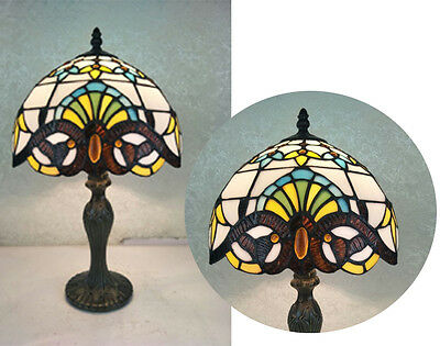 """Glass Tiffany Style Table Lamp - Antique Design - 10"""""""
