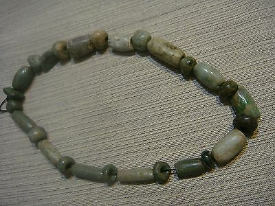 Authentic Pre Columbian Jade Necklace Mayan Period 1000 Years Old