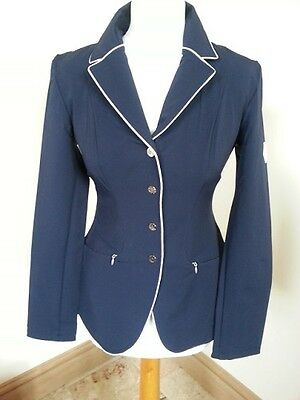 John Whitaker Show Jumping Softshell Competition Jacket Navy/white Piping