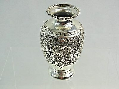 ANTIQUE ISLAMIC EASTERN SILVER MINIATURE VASE HAND CHASED ENGRAVED sterling