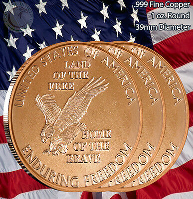 """3 Rounds """"Enduring Freedom"""" 1 oz .999 Copper Round Limited & Rare"""