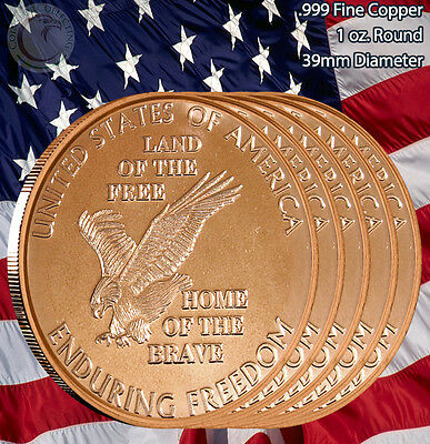 "5 Rounds ""Enduring Freedom"" 1 oz .999 Copper Round Limited & Rare"