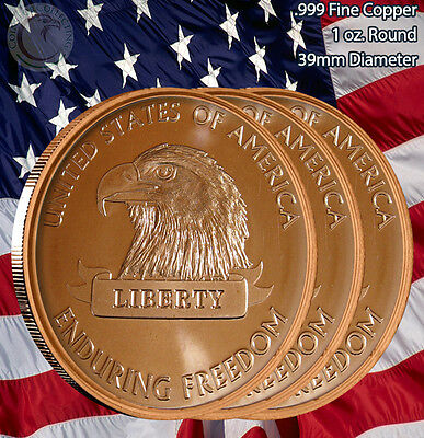 """3 Rounds """"American Eagle"""" Enduring Freedom1 oz .999 Copper Round Limited & Rare"""