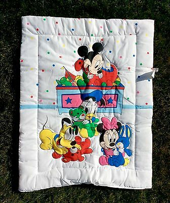 Vtg DUNDEE Disney Baby Mickey Minnie Mouse Pluto Donald Duck Crib Blanket Quilt