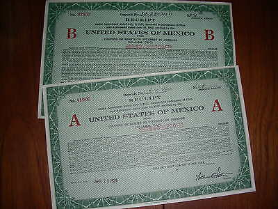 MEXICO: United States of Mexico, Receipt 'A' and 'B', 1924, uncancelled