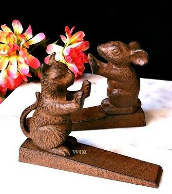 Rustic Cast Iron Metal Cat & Mouse Door Stop Weight Sculpture Kitty Mice Wedge