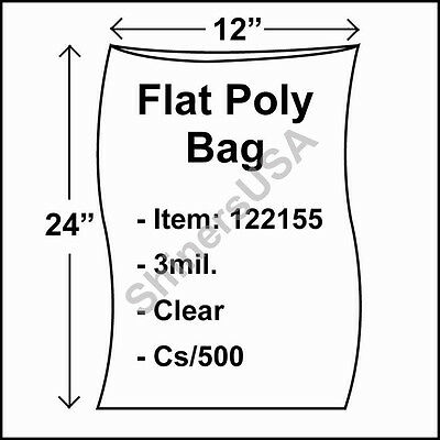 500 3-Mil 12x24 Clear Poly Bag Open Top Lay Flat Packaging 122155