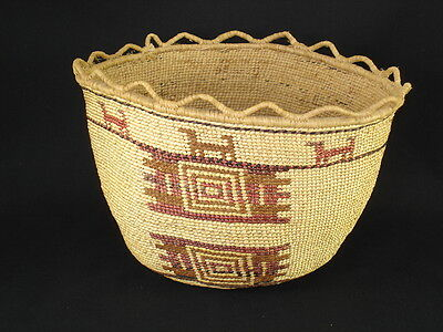 A Skokomish Polychrome Basket, Native American Indian, Circa: 1910