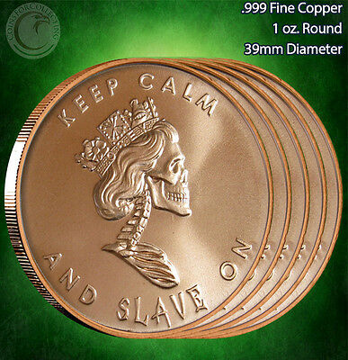 "5 Rounds ""Free Reign Keep Calm"" Copper Round 1 oz .999 Very Limited and Rare"