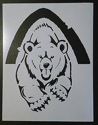 "Grizzly Bear Running Out Of Cave 8.5"" x 11"" Custom Stencil FAST FREE SHIPPING"