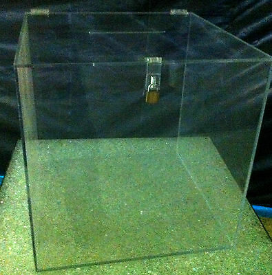 "Large clear acrylic Ballot Box with hasp and key 12"" cube lucite plexiglass"