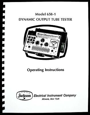 Jackson 658-1 Tube Tester Manual with Tube Test Data