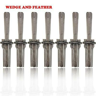 7Set 9/16'' Plug Wedges and Feather Shims Concrete Rock Stone Splitter Tool AS