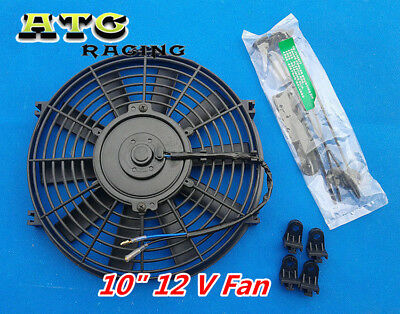 Universal 10 inch 12V volt Electric Cooling Fan Thermo Fan + Mounting Kits 10""