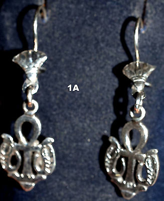 Hallmark Egyptian,Pharaonic,Authentic Silver Earrings,Scarab,Ankh Baduian Tribal