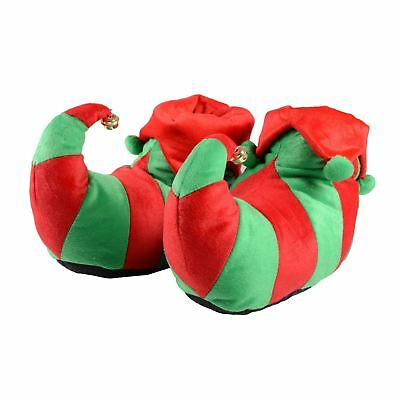 Womens / Mens Adult Elf Shoes Red & Green Christmas Slippers / Non Slip Soles