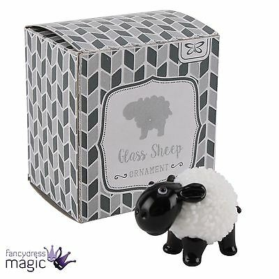 2cm x 3.5cm Glass Sheep Ornament Black and White Collectable Farm Animal Boxed