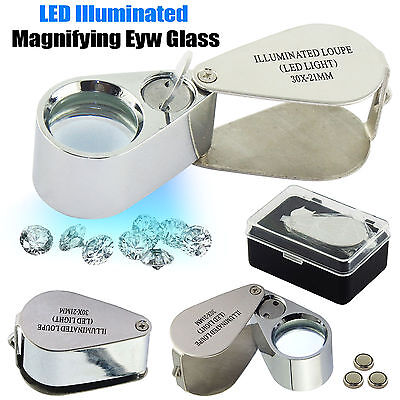 New 30X21mm LED Illuminated Jewellers Loupe Jewellery Magnifying Glass Eye Lens