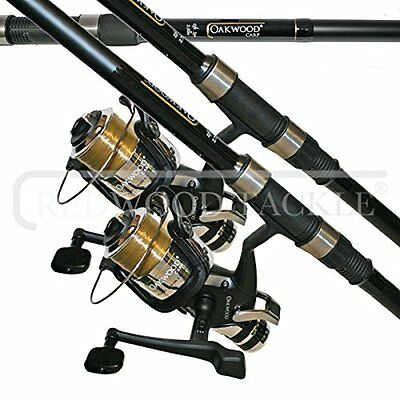 OAKWOOD Carp Combo 2.75tc Rod x 2 & Single Freespool/BTR Reel With Line x 2