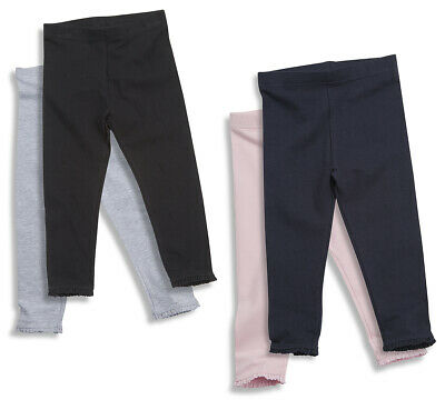 Girls 2 Pair Leggings Cotton Pants Frill Soft Warm Stretchy Plain Full Length