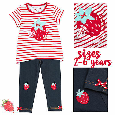 MINIKIDZ Girls T-shirt & Pants Trousers Outfit Striped 2 Piece Set Strawberry