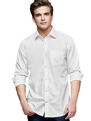 Mens Non iron Wrinkle-resistant white Tailored Fit full sleeve shirt
