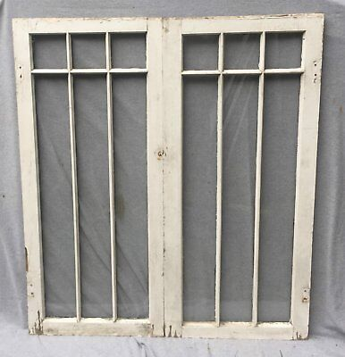 Pr Antique Porch Windows 6 Lite Casement Cabinet Door Kitchen Shabby 1053-16