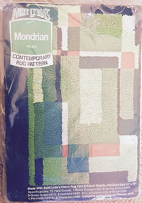 Vintage MCM Aunt Lydia's  Rug Pattern MONDRIAN 1970 NIP Dead Stock Punch Needle