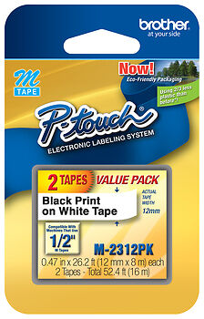 "2/Pack 1/2"" (12mm) Black on White P-touch M Tape for PT-65, PT65 Label Maker"