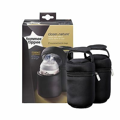 Tommee Tippee Insulated Thermal Travel Bottle Carriers Warmer Bags x 2
