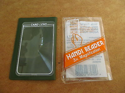 HANDI READER  CARD MAGNIFYING LENS  3x  WITH HOLDER