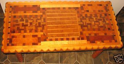 Hand Crafted Folk Art Parquetry Sofa Coffee Table