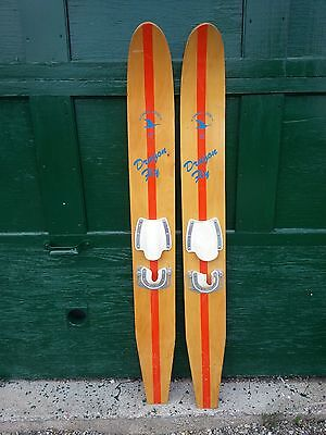 "VINTAGE Set of Wooden 54"" Long Waterskis Water Skis CANADA GOOSE DRAGON FLY"