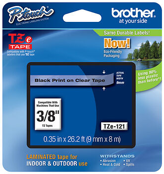 "Brother TZe-121 3/8"" Black on Clear P-touch Tape (9mm) TZe121, TZ121, TZ-121"