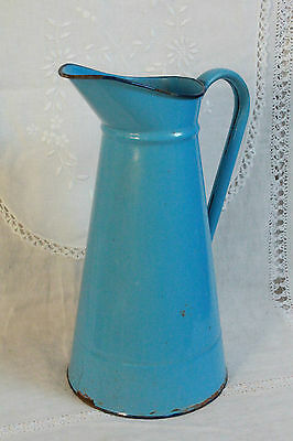 Gorgeous Antique French Enamelware Water Pitcher In Vivid Provence Blue Shabby