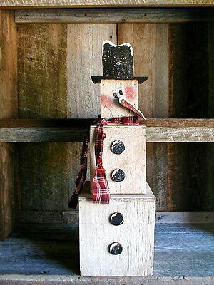 Pattern for Wood Seasonal Winter Snowman Stak~Primitive~Hand Paint (FreeShipUS)