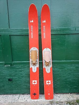 """VINTAGE Set of Wooden 64"""" Long Waterskis RED Water Skis SEA GLIDER GEORGE ATHANS"""