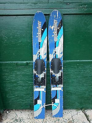 """VINTAGE Set of Wooden 48"""" Long Waterskis Water Skis Signed QUICKSILVER"""