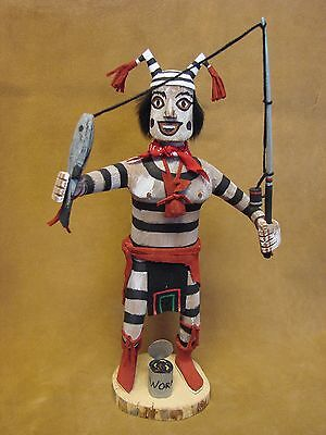 Navajo Indian Koshare Fisherman Clown Kachina Dancer by F Begay! Signed