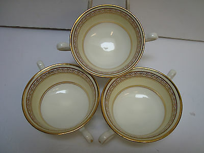 Three Antique Cauldon China England Gold Cream Soup Bowls Only - Pattern #v8946