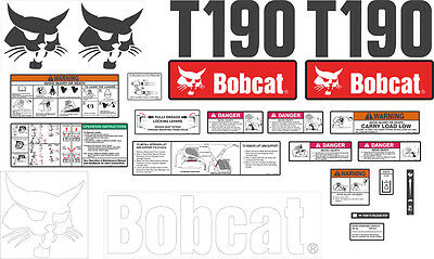 Bobcat T190 Decal Kit with controls. The most complete aftermarket kit available
