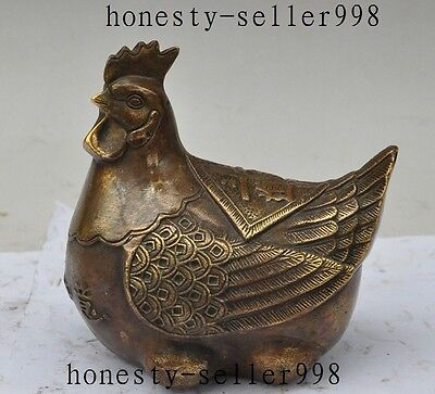 """5""""Old China fengshui Bronze auspicious ruyi zodiac Cock Rooster Chicken statue"""