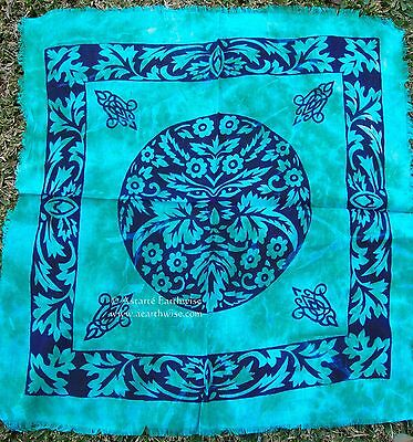TURQUOISE GREEN MAN PAN ALTAR TAROT CLOTH  53cm Wicca Pagan Witch Goth GREENMAN
